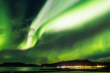 Das Nordlicht über der isländischen Küste von Nathan Marcusse