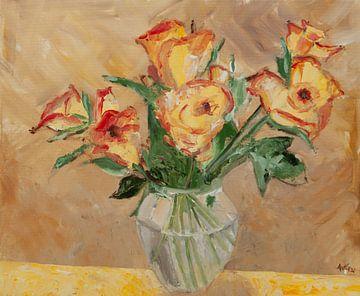 Gelbe Rosen mit rotem Rand. von Antonie van Gelder Beeldend kunstenaar