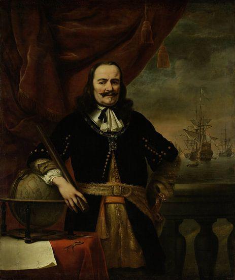 Portret schilderij: Michiel de Ruyter als luitenant-admiraal, Ferdinand Bol, 1667