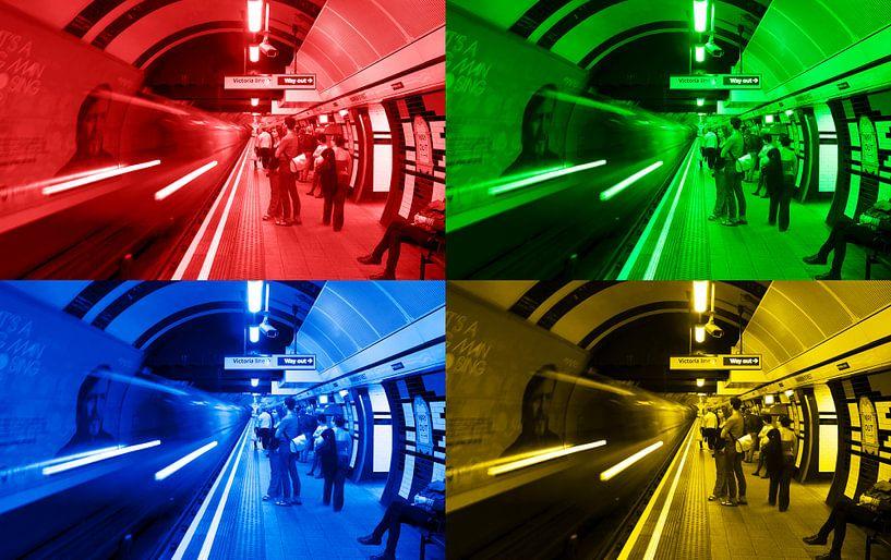 4x Londen underground van Ton de Koning