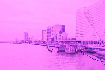 Rotterdam - Erasmusbrug en omgeving - in lila tinten van Ineke Duijzer