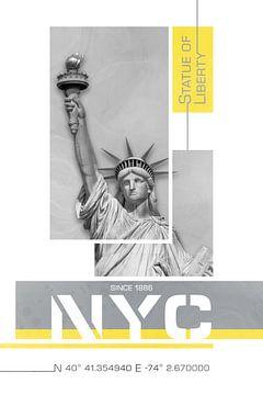 NYC Freiheitsstatue | Illuminating Yellow & Ultimate Grey von Melanie Viola