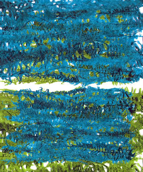 Groene en blauwe plant bladeren landschap van Eva van den Hamsvoort