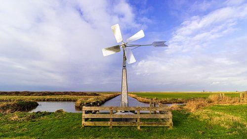 Polderlandschap met windmolentje