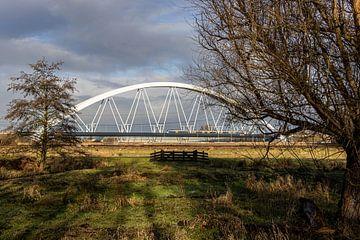 Sprinter auf Eisenbahnbrücke von Paul Veen
