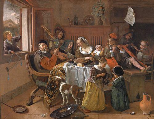 Jan Steen - Het vrolijke huisgezin van 1000 Schilderijen