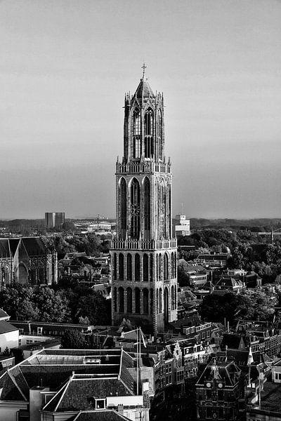 De Utrechtse Dom gezien vanaf de Neudeflat in zwart-wit van De Utrechtse Grachten