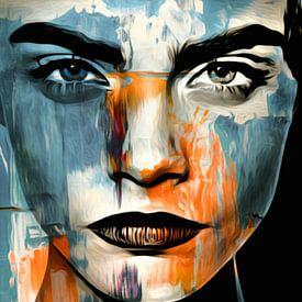 Gewoon gezicht - Abstracte spelmotief Cara Delevingne van Felix von Altersheim