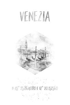Koordinaten VENEDIG Canal Grande | Aquarell von Melanie Viola