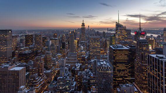 New York City - Zonsondergang van Ivo de Bruijn