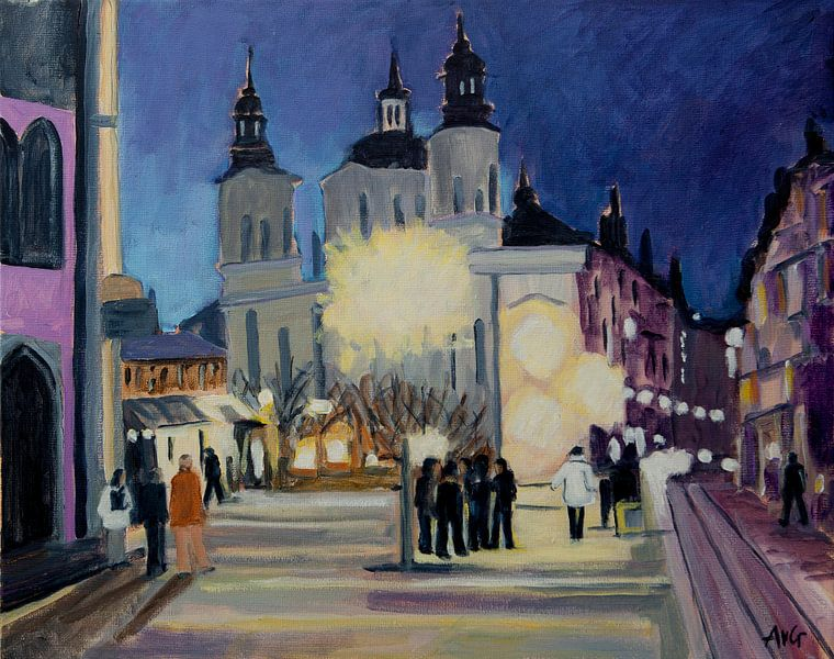 Prague bij nacht van Antonie van Gelder Beeldend kunstenaar