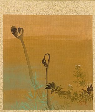 Shibata Zeshin - Blatt aus dem Album mit saisonalen Themen, Vögel im Schnee