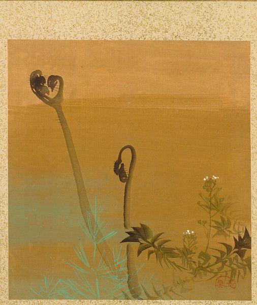 Shibata Zeshin - Blad uit Album met Seizoensgebonden Thema's, Vogels in de Sneeuw van 1000 Schilderijen