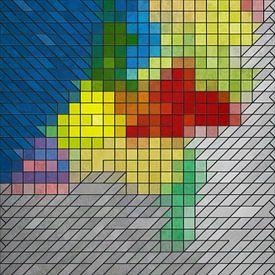 Carte des Pays-Bas en vitrail sur Frans Blok