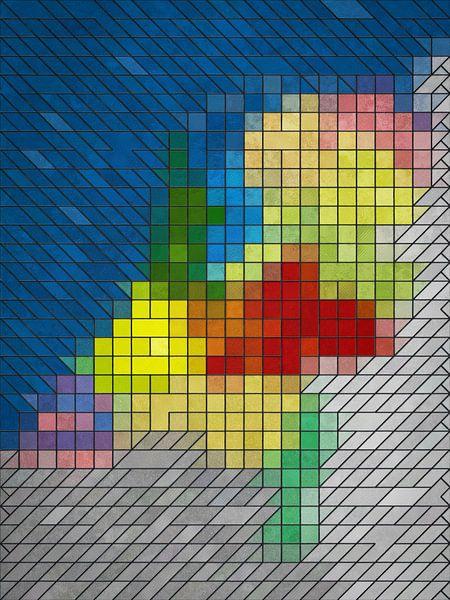 Glas-in-loodkaart Nederland van Frans Blok