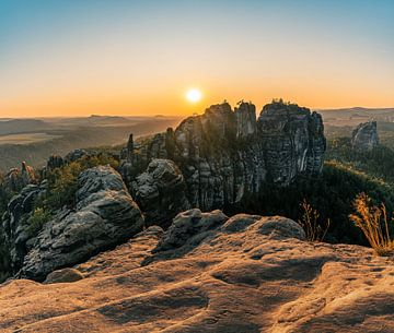 Sonnenuntergang am Schrammsteinfels von Christian Klös