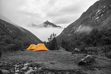 Wanderschlafplatz auf dem Santa Cruz Trail in den Anden, Peru von Ramon Van Gelder