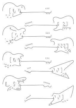 Silhouetten van gitaren van Drawn by Johan