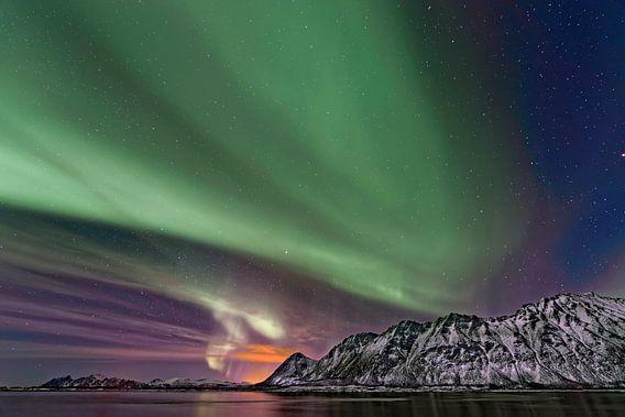Aurora Borealis,het Noorderlicht boven de Lofoten,Noorwegen.