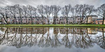 Huizenrij aan de stadsgracht van Leeuwarden van Harrie Muis