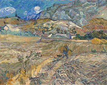 Vincent van Gogh. Landschaft in Saint-Rémy, mit Bauern