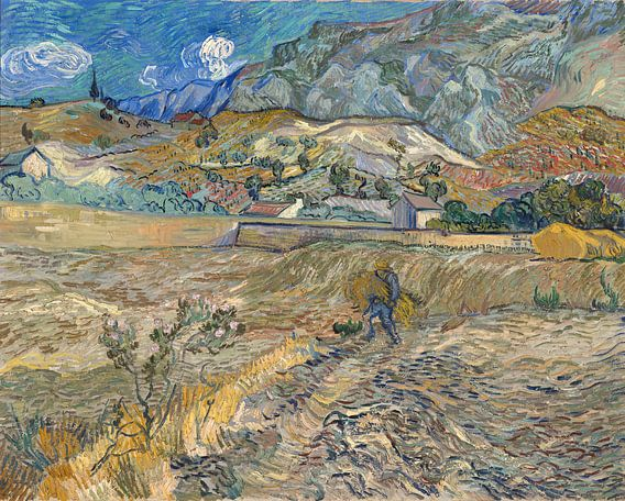 Vincent van Gogh. Landschap in Saint Rémy, met boeren van 1000 Schilderijen