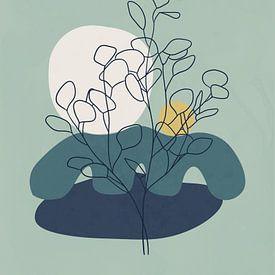 Abstract-minimal landschap illustratie van een eucalyptusboom van Tanja Udelhofen