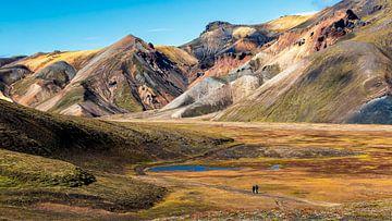 gekleurd berglandschap in het gebied van Landmannalaugar op IJsland van Thomas Heitz