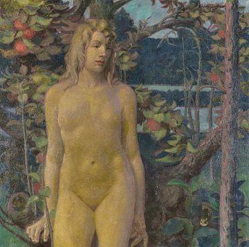 Stehender weiblicher Akt im Garten, ERICH ERLER, Um 1900 von Atelier Liesjes