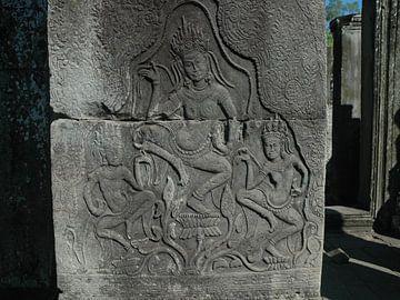 Relief von tanzenden Apsaras im Bayon-Tempel, Teil von Angkor Wat, Kambodscha von Koolspix