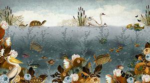 Onderwater wereld met vissen, schildpadden en zwaantjes.