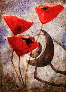 Poppy Schilderij - Papaver abstractie