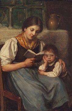 Beim Vorlesen, FRANZ VON DEFREGGER, Um 1900 von Atelier Liesjes