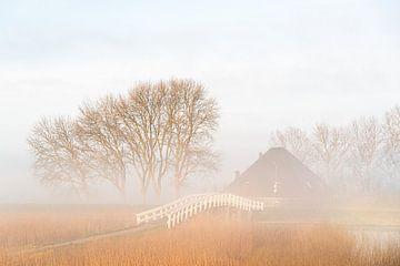 Mist bij boerderij met brug