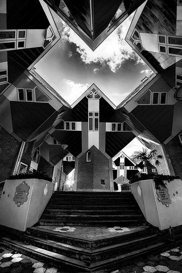 frontaal zicht op de kubes woningen in Rotterdam