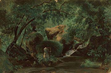 André Giroux~Waldinterinterieur mit einer Malerin, Civita Castellana