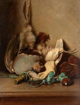 Stilleben mit Ringeltaube und Pulverhorn, Guillaume Anne van der Brugghen