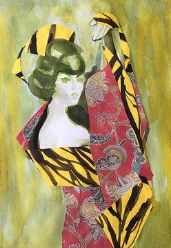 Geisha in Red Kimono van Helia Tayebi Art