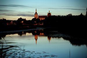 Het Bossche Broek Den Bosch bij zonsondergang met uitzicht op de Sint Jan katedraal