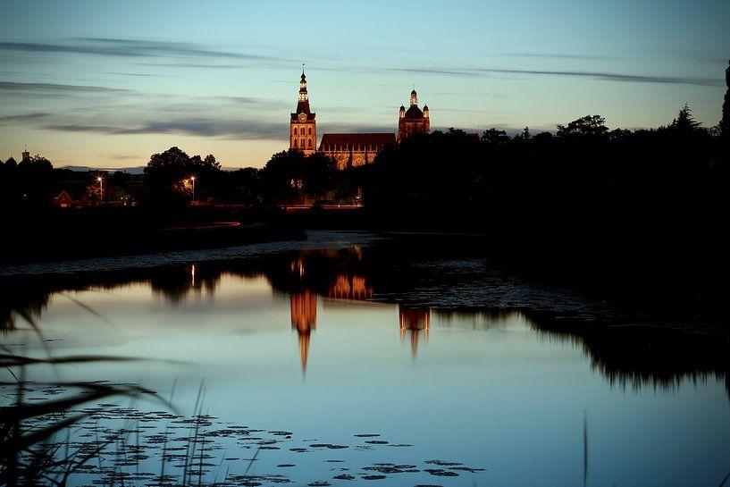 Het Bossche Broek Den Bosch bij zonsondergang met uitzicht op de Sint Jan katedraal van Jasper van de Gein Photography