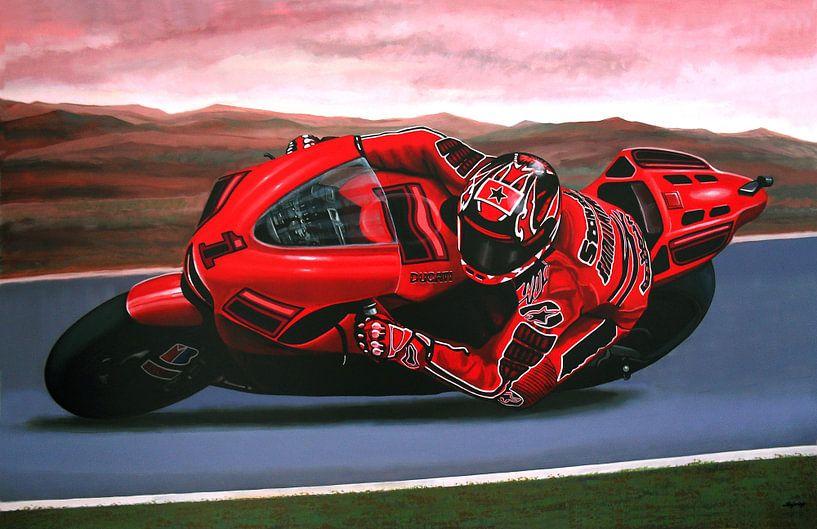 Casey Stoner op Ducati schilderij van Paul Meijering