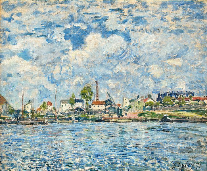 Die Seine im Morgengrauen, Alfred Sisley von Meesterlijcke Meesters