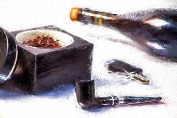 Tabakspijp, champagne, tabak van Kahl Design Manufaktur