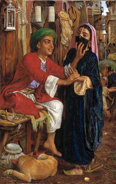 William Holman Hunt - The Lantern Maker's Courtship, A Street Scene in Cairo van 1000 Schilderijen