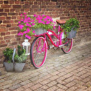 Roze bloemenfiets