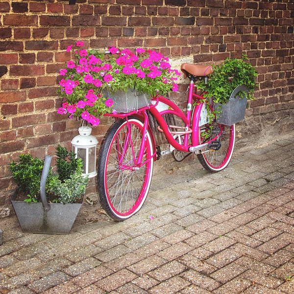 Roze bloemenfiets van Marly De Kok