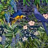 Blauw uur met blauwe papegaaien van christine b-b müller thumbnail