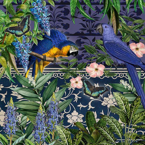 Blauw uur met blauwe papegaaien van christine b-b müller