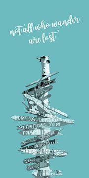 Graphic Art SIGNPOST | turquoise sur Melanie Viola