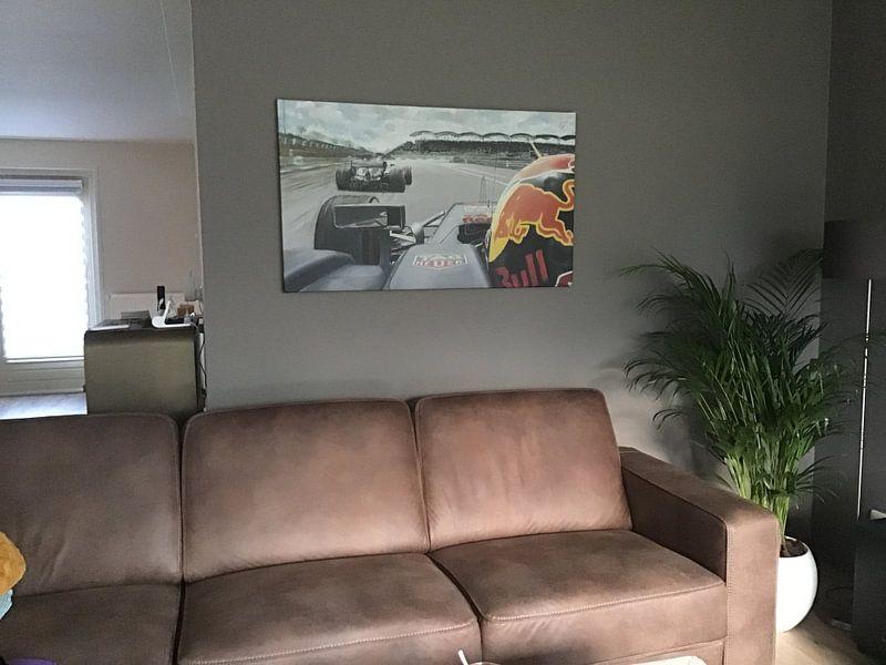 Kundenfoto: Max Verstappen  versuch zu bestehen Lewis Hamilton  von paul smit, auf leinwand
